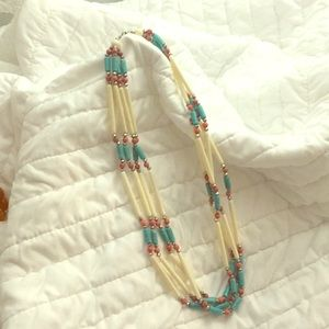 Four strand southwestern necklace. Faux turquoise